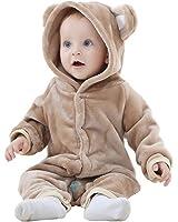 MICHLEY Bambino Ragazze Ragazzi Bianca pagliaccetto con cappuccio Flanella Orso Stile inverno Pigiama Cosplay Carnevale Costume