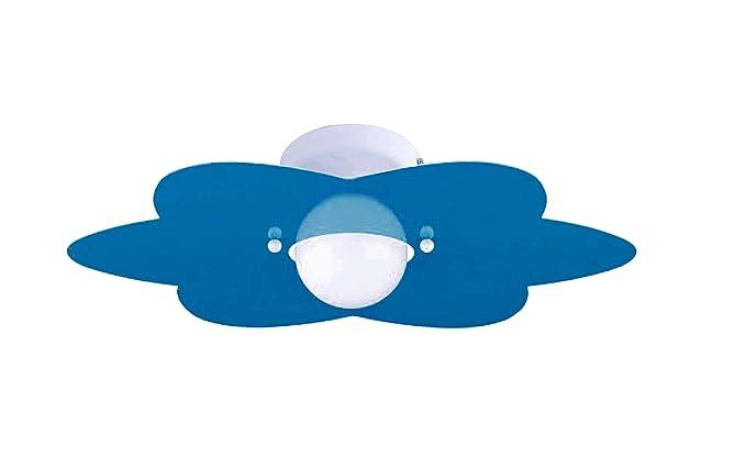 Plafoniere Per Stanzette : Plafoniera fiore azzurro per camerette stanzette bambini amazon