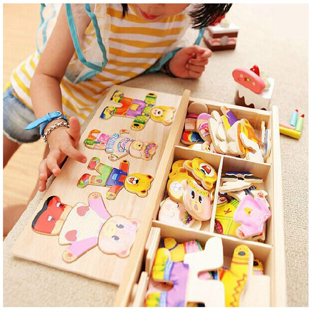 Little Bear Change Clothes Children's Early Education Wooden Jigsaw Puzzle Dressing Game Baby Wooden Puzzle Toys mrGood