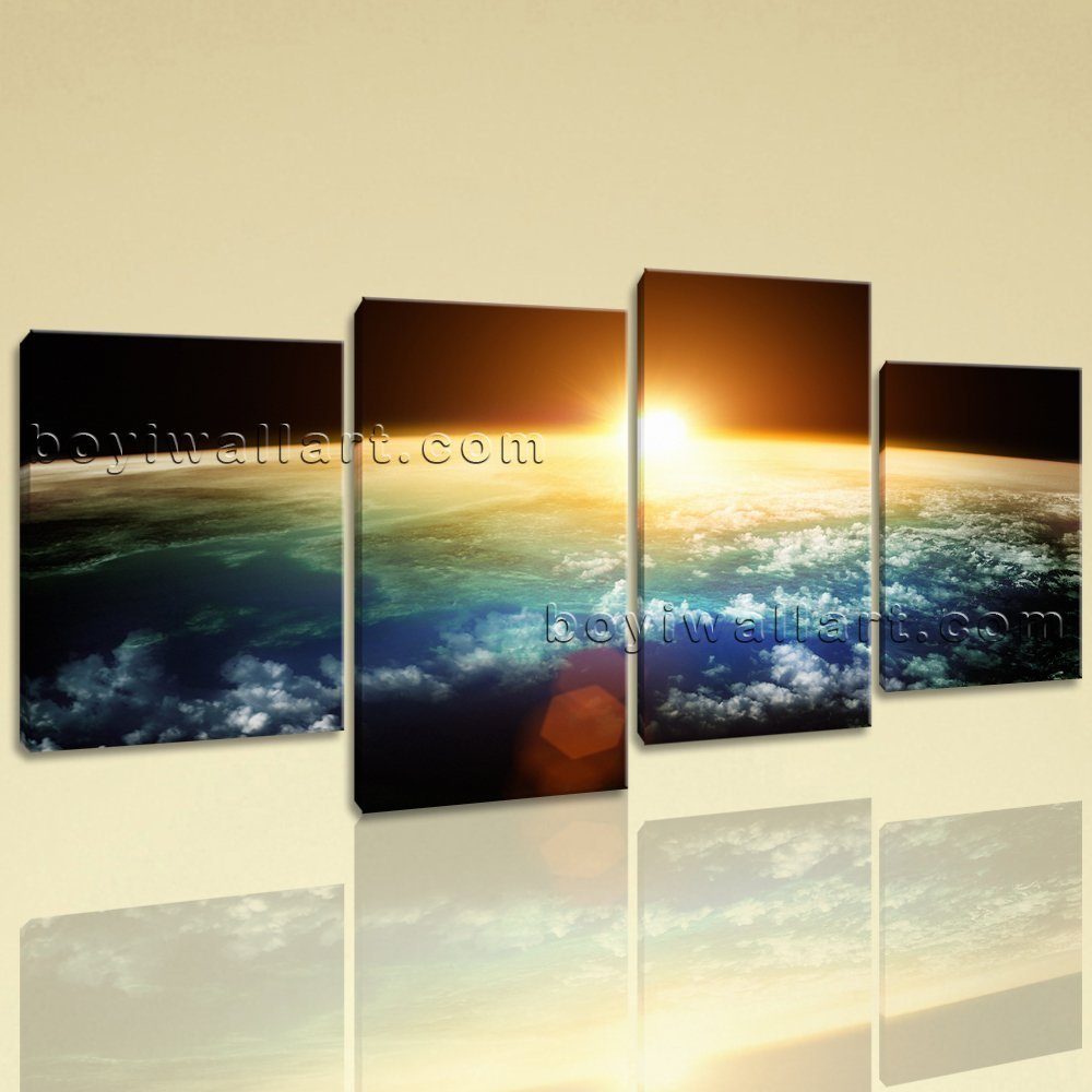 Amazon.com: Large Planet Earth Sunset Other On Canvas Wall Art Home ...