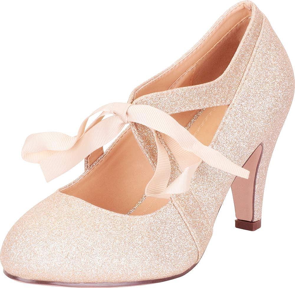 gold Glitter Cambridge Select Women's Retro 1920s Vintage-Inspired Ribbon Bow Chunky High Heel Pump
