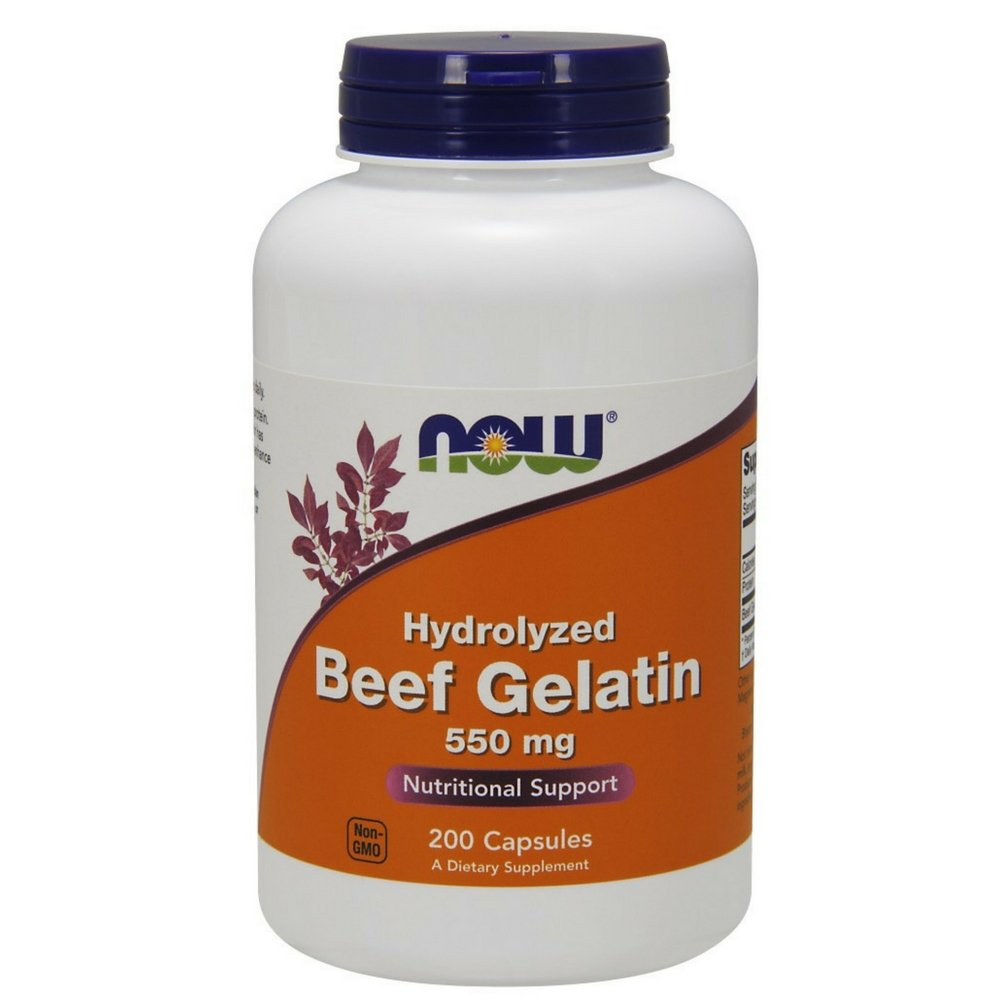 NOW Supplements, Beef Gelatin 550 mg, 200 Capsules by NOW Foods
