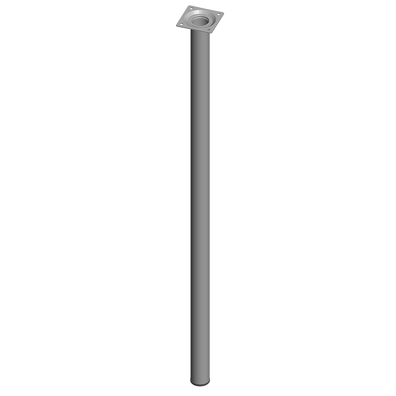 Element System 1 Set, á 4 Stück Stahlrohrfüße rund, Tischbeine, Möbelfüße, inklusiv Anschraubplatte, L 40 cm, Durchmessesr 30 mm, Edelstahloptik, 8 Abmessungen, 11100-00174 DIY Element-System GmbH