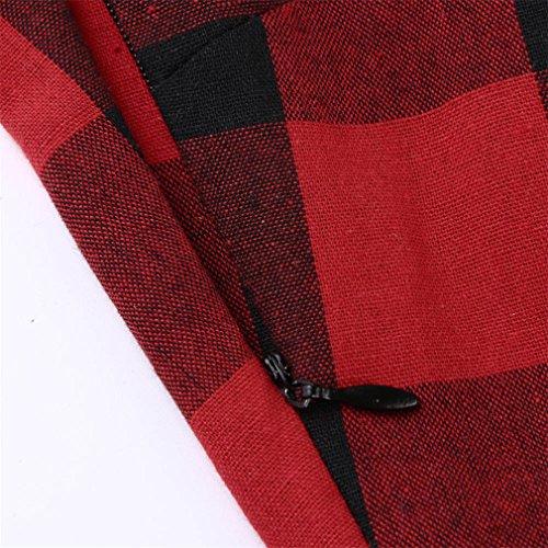 FeiXiang - Vestido de fiesta para mujer, estilo vintage, color rojo y negro, sin mangas, con cremallera rojo rosso M: Amazon.es: Jardín