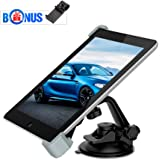 Car Tablet Holder, MEMTEQ Windshield Dashboard Suction Car Mount Holder, 360 Degree Adjustable Rotating iPad Holder Stand for iPad Mini, iPad Air, GPS, 7 - 10.5 Inch Tablets ( Black and Grey)
