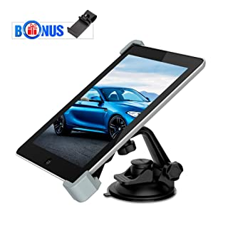 "iPad Suction Mount, MEMTEQ Windshield Dashboard Car Tablet Holder, 360 Degree Adjustable Rotating Stand for Amazon Fire, iPad Mini/ Air, GPS, 7 - 10.1"" Bonus Steering Wheel Phone Holder"