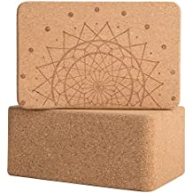 Peace Yoga Set of 2 Cork Wood Yoga Blocks with Premium Designs - Choose Your Size and design