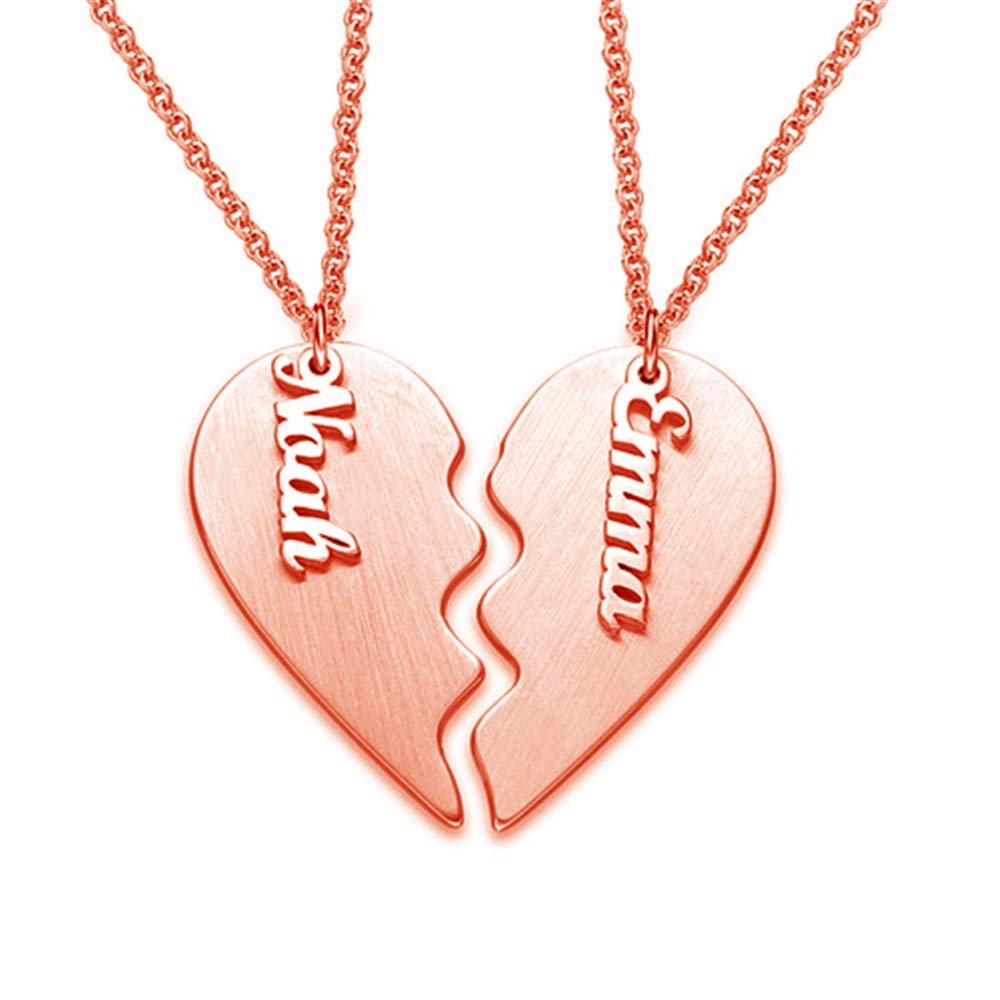 0 0 KIKISHOPQ Personalized Heart-Shaped Couple Necklace for The