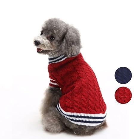 HongYH 2 Patrones de Punto clásico suéter de Perro, Prendas de Punto Ropa de Animales