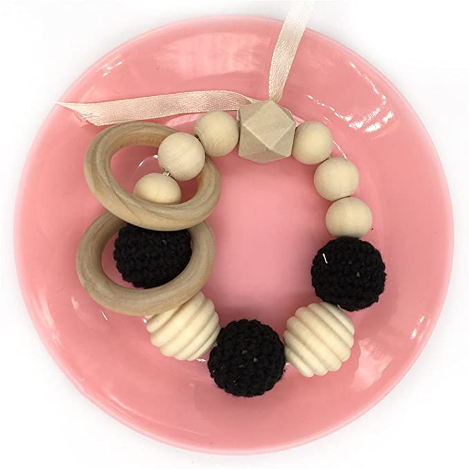 coskiss cuentas Crochet Gum Anillo de madera perlas espiral ...