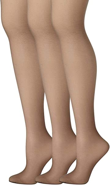 Hanes Women/'s Silk Reflections Sheer Control Top Pantyhose 3-Pack Jet Size E//F