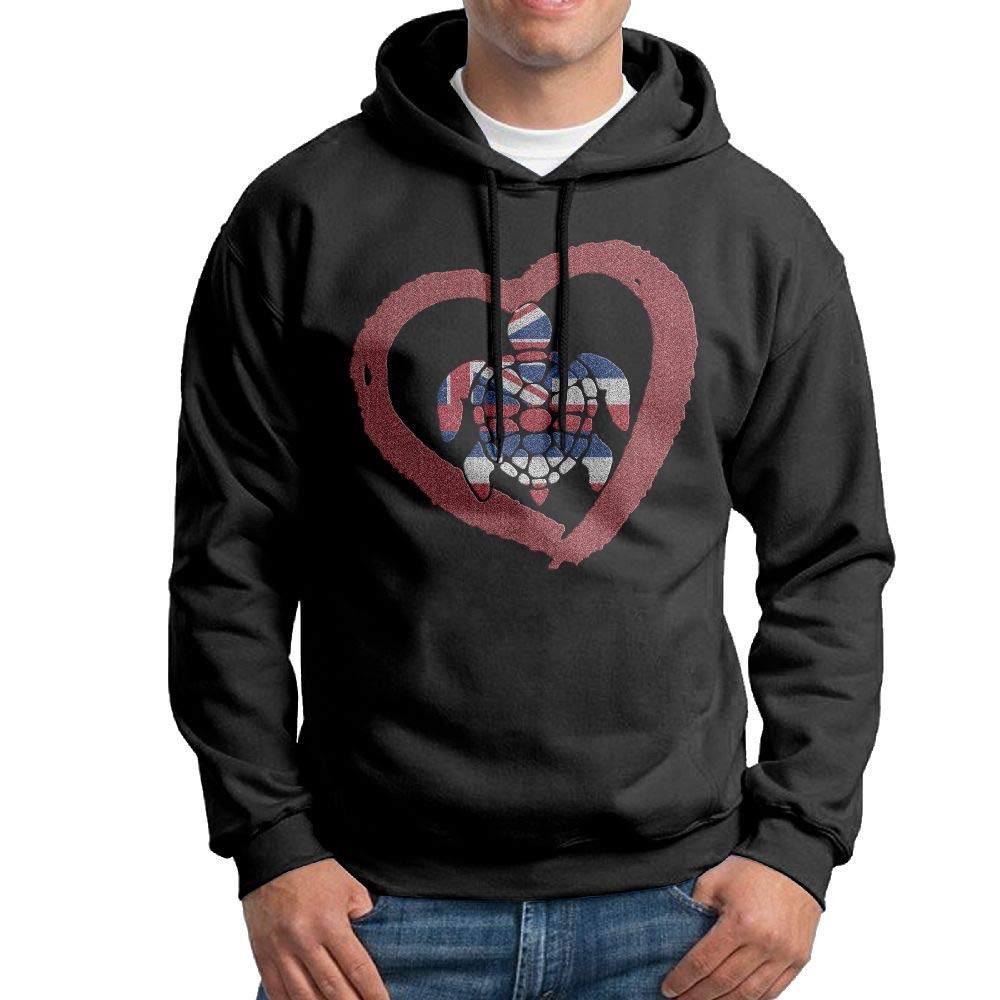 NWYYZDD Big Mens Sea Turtle Hawaii Heart Patterns Print Athletic Pullover Hood Fashion Sweatshirts