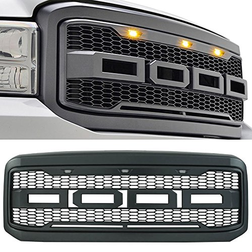 Packaged Grille fits 2005-2007 Ford F250 & 350 | New Raptor Style Charcoal Gray ABS Front Bumper Grille Hood Mesh Guard by IKON MOTORSPORTS | 2006 ()