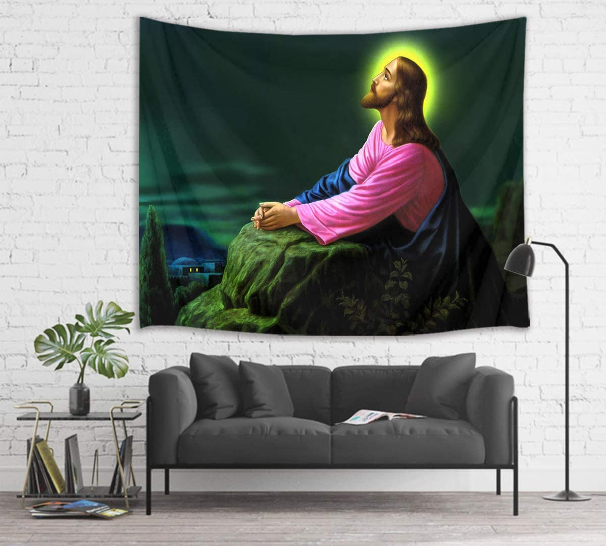 HVEST Jesus Tapestry Christ Pray in Night Wall Hanging Christian Tapestries for Bedroom Living Room Dorm Church Wall Decor,80Wx60H inches