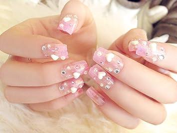 3d cobertura completa falso Nails rosa arte uñas con forma de corazón decorar largo falso uñas 24 pcs/Set Manicura Herramientas: Amazon.es: Belleza