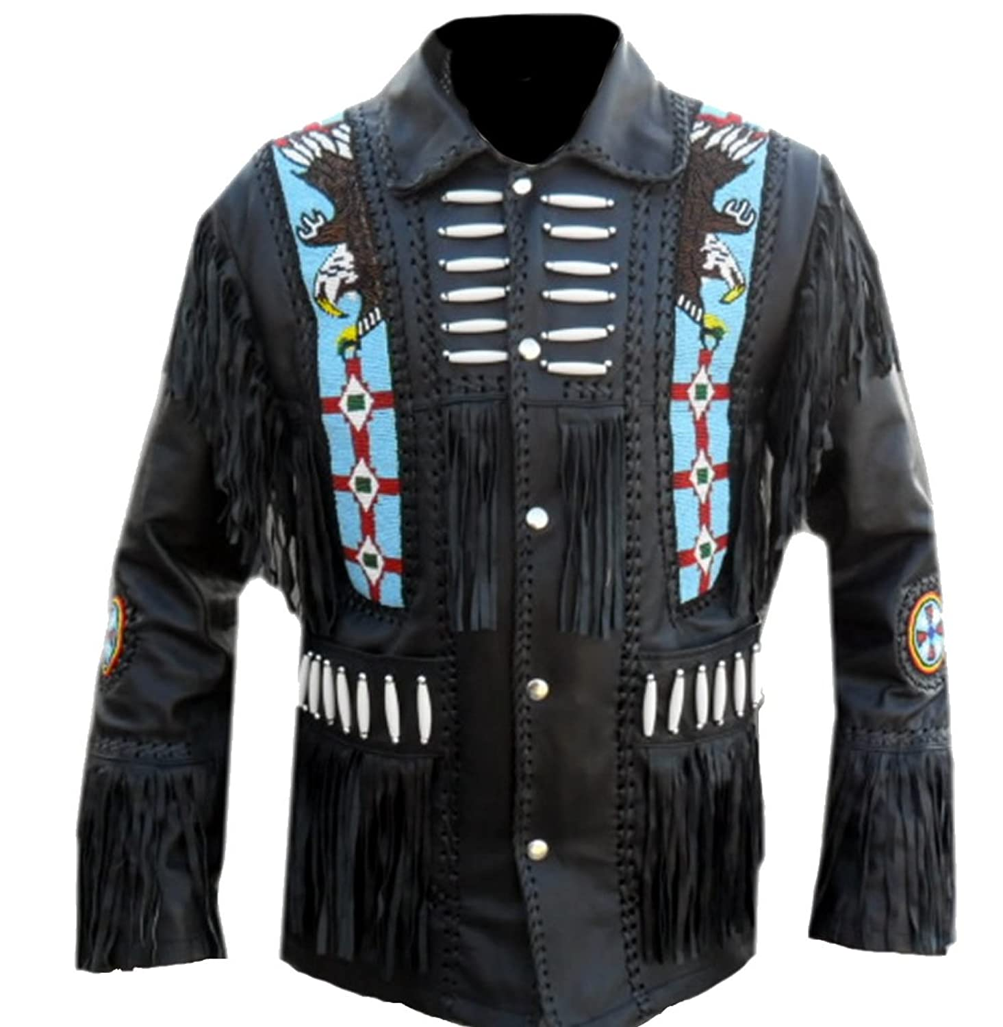 Classyak Men's Western Real Leather Jacket Eagle Beads Design