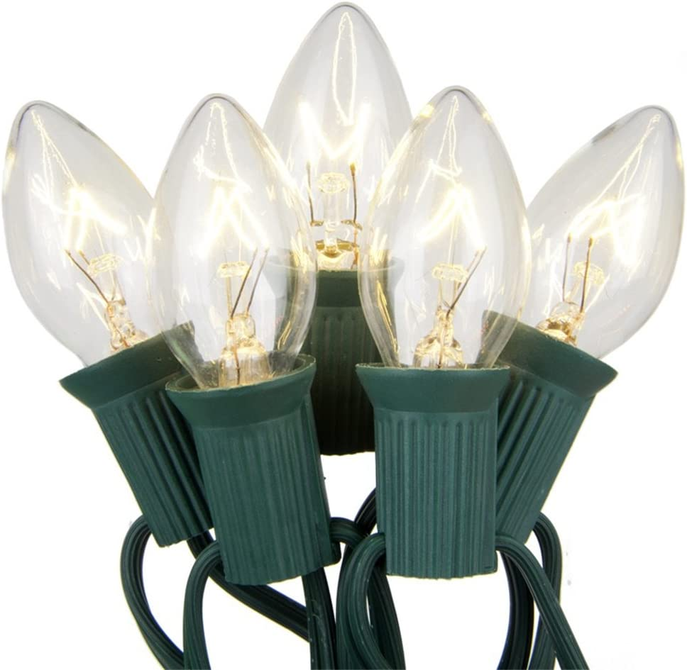 Goothy Outdoor Weatherproof Lighting Incandescent Replacement String Lights with 25FT Warm White Bulbs for Christmas Lights Commercial Grade(Plus 2 Extra Bulbs)