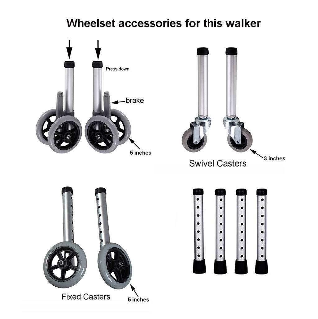 FKDEWALKER Aluminium Foldable Walking Frame,Wheeled Walker with Arm Rest,Walking Mobility Aid,,Lower Limb Trainer,Standard Walker (Color : 4 Wheels+4 Walker Legs+seat) by FKDEWALKER