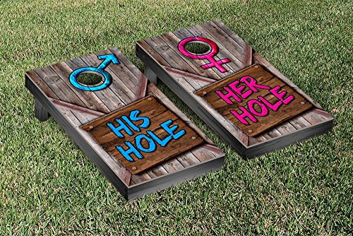His Hole Her Hole Wooden Sign Cornhole Game Set by Victory Tailgate