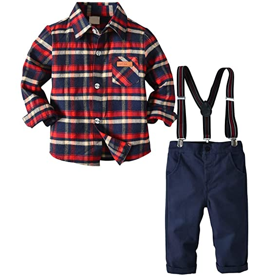 ZzZz Vestidos Niña Invierno Pelele Bebe Niño Toddler Baby Kids Boys Gentleman Camiseta con Top De Raya Pantalones A Cuadros Conjunto De Pantalones: ...