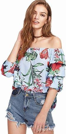 Good dress Camisa de Cinco Puntas Impresa Hombro de la Palabra de la Moda de la Manga de la Palabra, Color de la Foto, XXL: Amazon.es: Deportes y aire libre