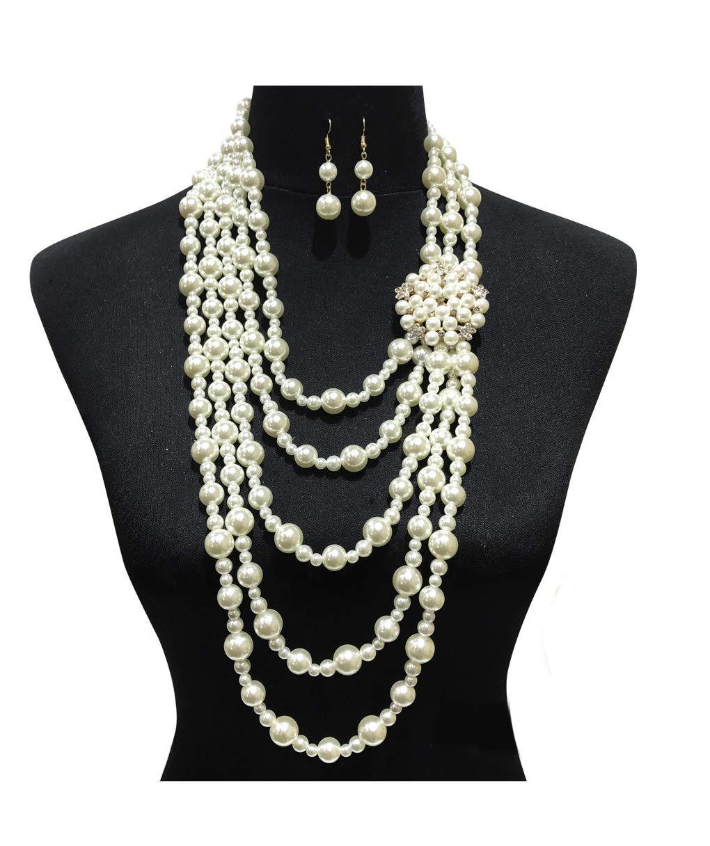 Fashion 21 Women's Chunky Multi-Strand Simulated Pearl Statement Necklace and Earrings Set in Cream Color (Cream - Style F)