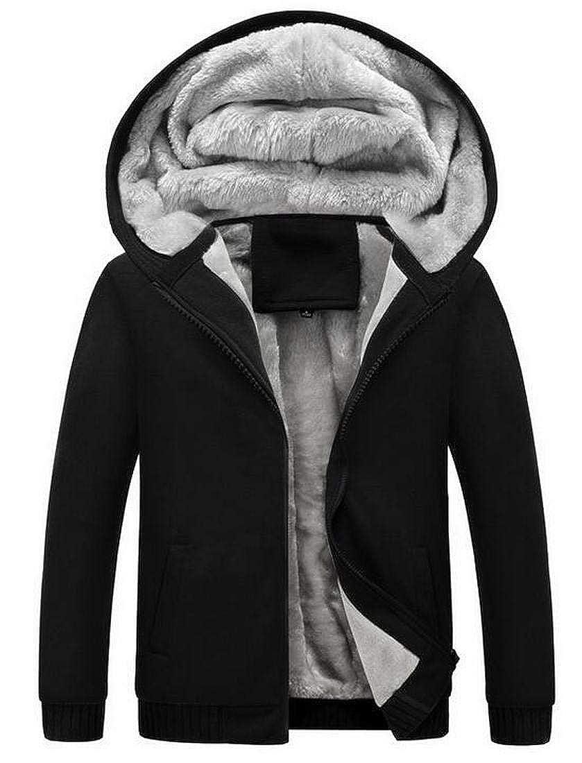 SELX Men Winter Fleece Coat Plus Size Thick Hoodie Outerwear Solid Warm Sweatshirt