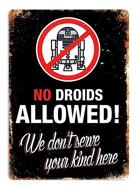 HiSign No Droids Allowed Retro Cartel de Chapa Coffee Póster ...