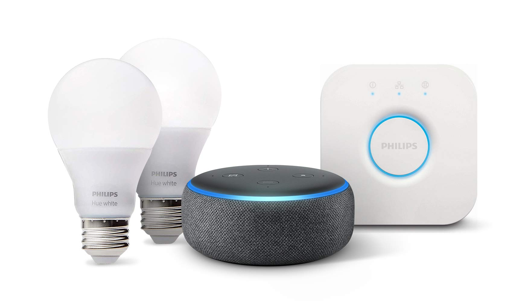 Echo Dot (3rd Gen) - Charcoal with Philips Hue White Smart Light Bulb Starter Kit (All US Residents) by Amazon (Image #10)