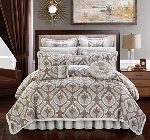 Chic Home Jodamo 13 Piece Comforter Set Jacquard Scroll Faux Silk Bed in a Bag Bedding with Pleated Flange - Sheets Bed Skirt Decorative Pillows Shams Included, King Beige