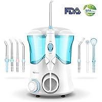 Irrigador Dental Professional con 8 Boquillas Multifuncionales, Vellepro Irrigador Bucal con Capacidad de 600ml, 10 Ajustes de Presión del agua, Limpieza Dientes, Certificado de FDA