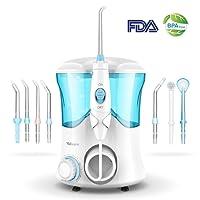 Hydropulseur Jet Dentaire Électrique Vellepro Irrigateur Dentaire Oral Buccal Professionnel avec 7 Buses de Rechange Rotation 360°, 10 Niveaux de Pression Réglable et 600ml Réservoir d'Eau
