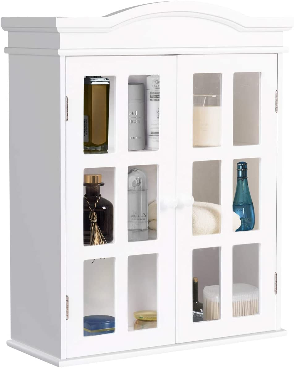 Tangkula Wall Mounted Storage Cabinet, Collection Storage Cupboard, with Adjustable Shelf, Two Elegant and Delicate Acrylic Doors, Ideal for Kitchen, Dining Room and Living Room
