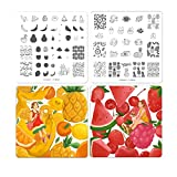 CICI&SISI 2018 Nail Art Acrylic Stamping Plates Flowers Fruits Design Manicure Print Image Plate, set of 4 (Tropical Fruit)