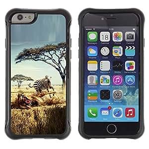 "Pulsar iFace Series Tpu silicona Carcasa Funda Case para Apple (4.7 inches!!!) iPhone 6 , Safari Zebra león África Wild Animal Árboles"""