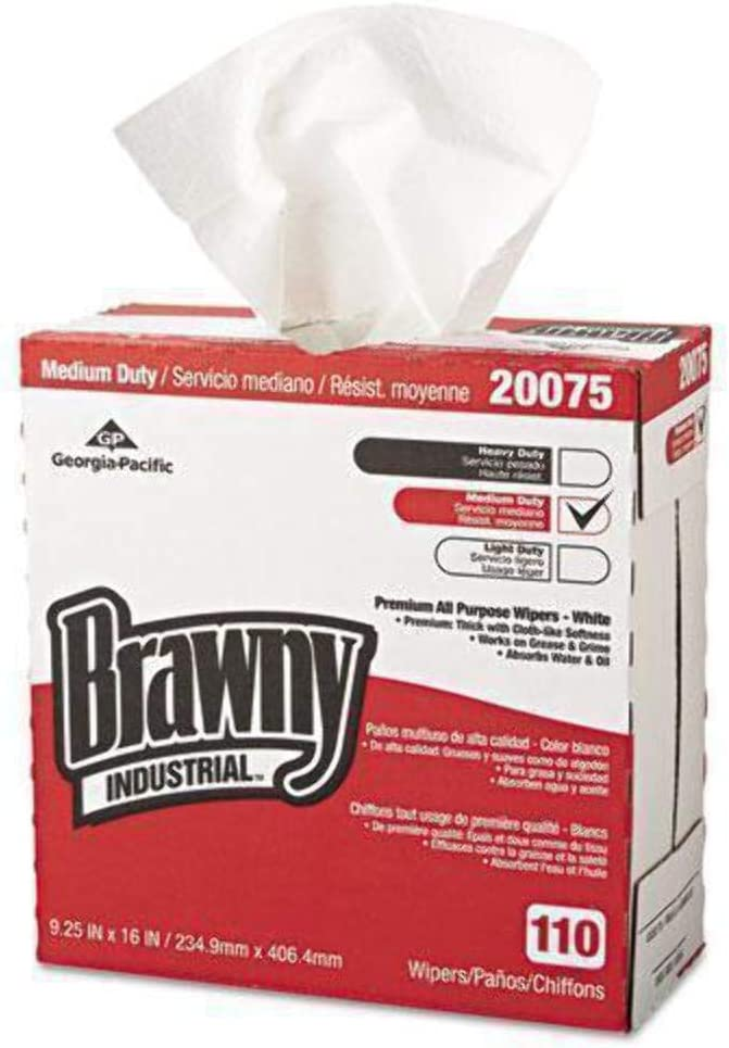 GPC20075 - Brawny Industrial Tall Dispenser All-Purpose Drc Wipers, 9-1/4x16, White, 110/bx