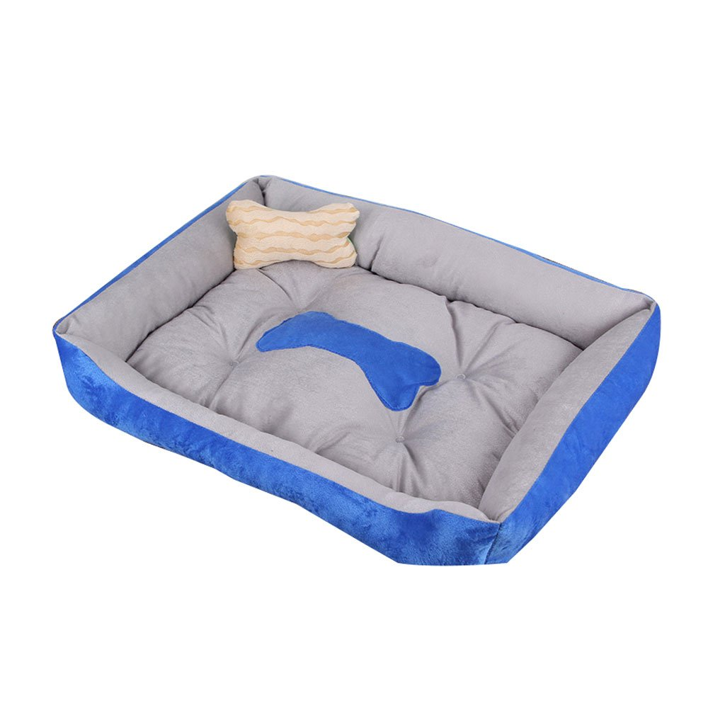 blueE 4530cm blueE 4530cm Small Dog Medium Size Large Dog Mat Kennel Four Seasons Pet Wolves Dog Supplies Dog House Cat Litter Pet Bed Comfortable (color   blueE, Size   45  30cm)