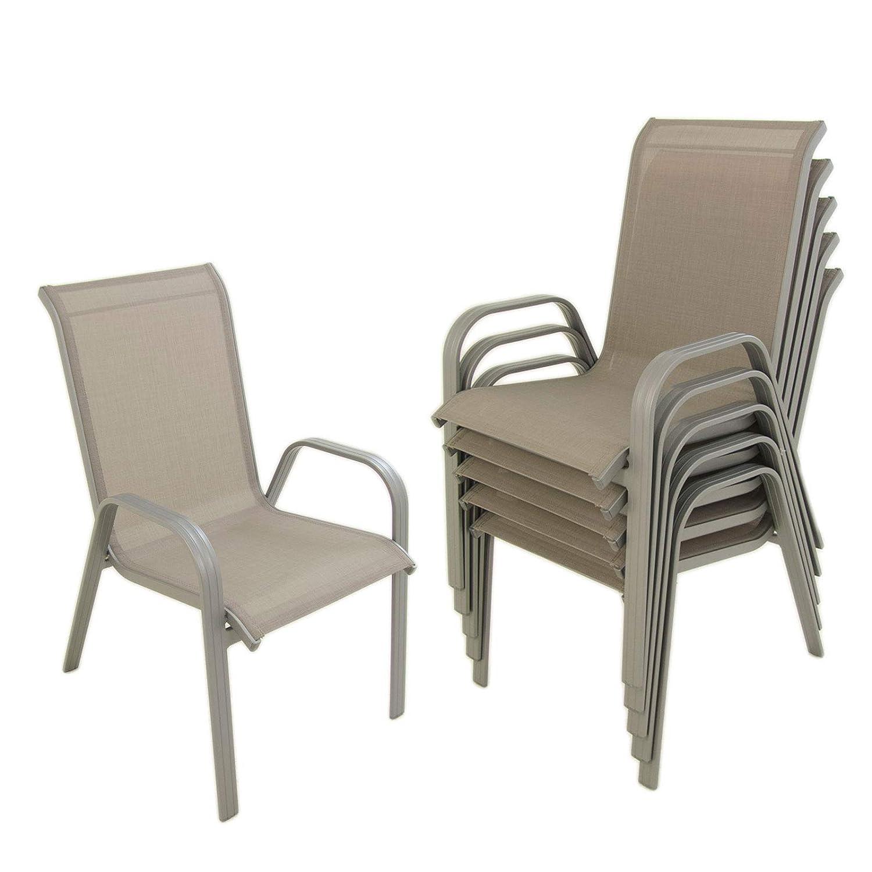 Edenjardi Pack 6 sillones de jardín apilable, Tamaño ...