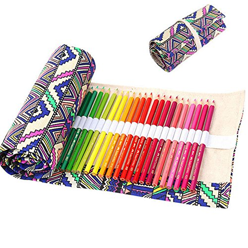 Moore Ethnic Style Canvas Wrap Roll Up Stationery Pencil/pen Bag Pouch School Office Supplies (Shutter Wrap)