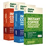 Alpine Start Premium Instant Coffee Variety 3-Pack (Original Blend, Coconut Creamer Latte, Dirty Chai Latte), 18 Single Packets, 100% High Altitude Colombian Arabica Coffee, Dairy Free, Vegan