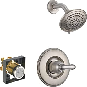 Delta Faucet Linden 14 Series Single-Function Shower Trim Kit with 5-Spray Touch-Clean Shower Head, Stainless T14294-SS (Valve Included)