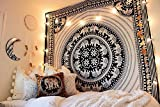JHC's Queen Black & White Hippie Indian Elephant Mandala Tapestry Bedspread Beach Dorm Bohemania