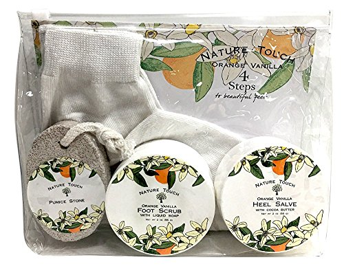 Foot Scrub Kit,Foot Care Kit for Women & Men With Foot & Hand Scrub,Pumic Stone,Heel Salve,Healing Socks.Paraben Free Foot Care Gift Set for Healthy Feet,Orange Vanilla Scent