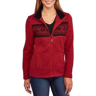 Faded Glory Women's Sweater Fleece Jacket Fairisle Pattern at ...