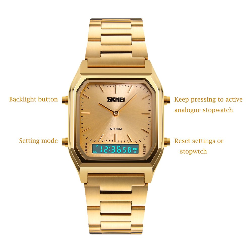 377d5de9a Amazon.com: Women Watch Gold Analog Digital Watches Girls Ladies Wristwatch  Stainless Steel Band LED Stopwatch Alarm: SKMEI: Watches