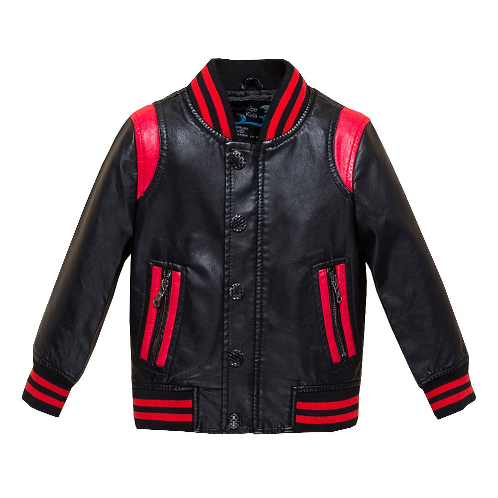 Budermmy Boys Leather Motorcycle Pilot Jackets Toddler Coats Red Size 3T by Budermmy