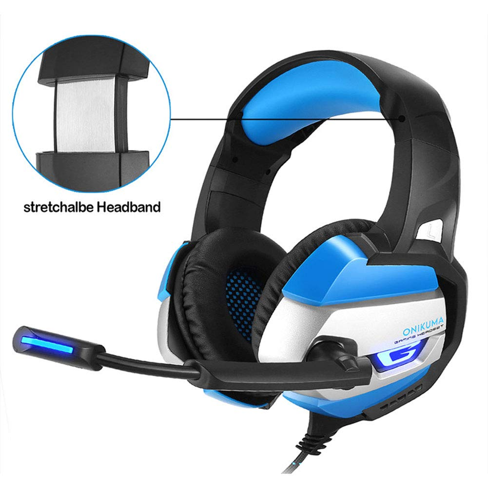 HUAN PC Gaming Headset for PS4 Xbox One, 3.5mm Stereo USB LED Headphones with Omnidirectional Microphone, Volume Control for Computer Laptop Mac Playstation 4 by HUAN (Image #6)