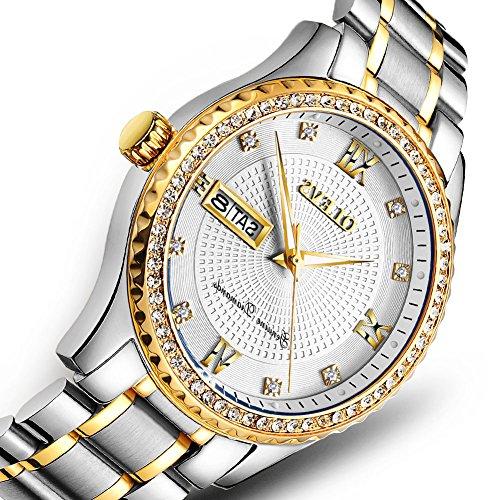 OLEVS Luxury Brand Watches Men Fashion Sport Mens Quartz Watch Auto Date Man Steel Bracelet Wristwatch Calendar Swim Water Resistant Wristwatches Father's Day Watch White Dial -