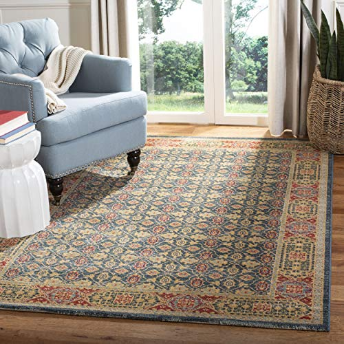 Rug Red Mahal - Safavieh Mahal Collection MAH623K Light Blue and Red Area Rug, 8' x 10'