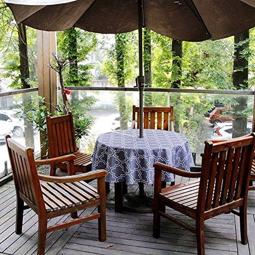 "(150cm Round, Dark Gray) - Do4U Waterproof Table Cloth Indoor/Outdoor Tablecloth With Zipper and Umbrella Hole (150cm Round, Dark Grey) B074BRL8Q5 60"" Round,ダークグレー"
